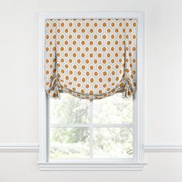 Beige & Orange Hexagon Tulip Roman Shade