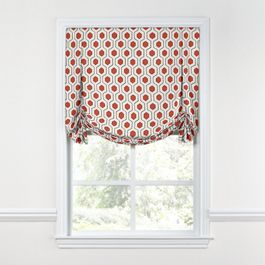 Gray & Red Hexagon Tulip Roman Shade
