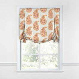 Orange & Pink Paisley Tulip Roman Shade