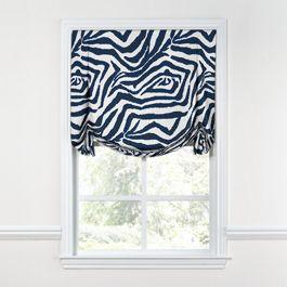 Blue Zebra Print Tulip Roman Shade
