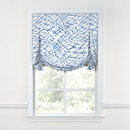 Blue & White Net Tulip Roman Shade