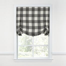 Gray & White Buffalo Check Tulip Roman Shade