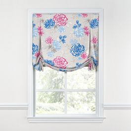 Blue & Pink Floral Tulip Roman Shade
