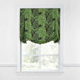 Green & Black Palm Leaf Tulip Roman Shade
