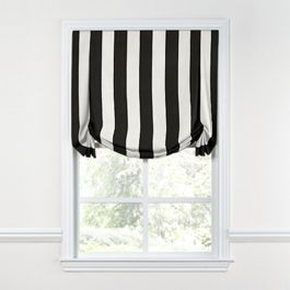 Black & White Awning Stripe Tulip Roman Shade
