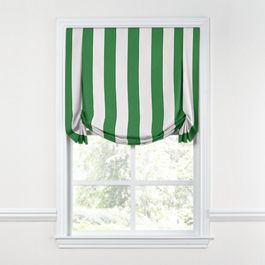 Green Awning Stripe Tulip Roman Shade