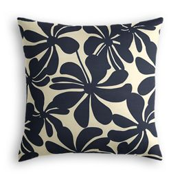 Navy Graphic Floral Outdoor Pillow