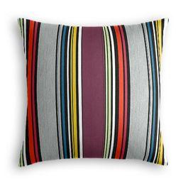 Purple Multicolor Striped Outdoor Pillow
