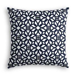 Navy Blue Floral Lattice Outdoor Pillow