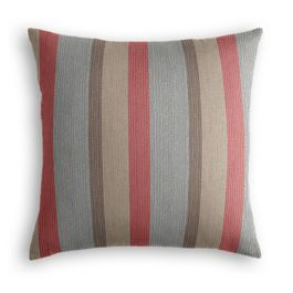 Red Blue Tan Stripe Outdoor Pillow
