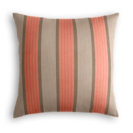 Coral & Gray Stripe Outdoor Pillow