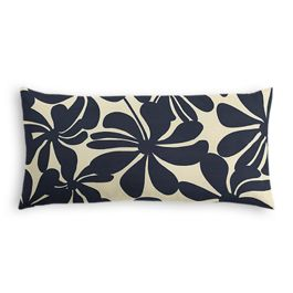 Navy Graphic Floral Outdoor Lumbar Pillow