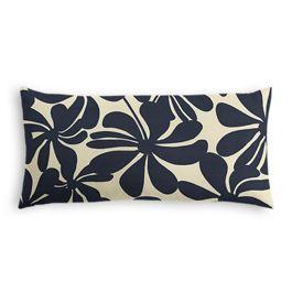 Navy Graphic Floral Outdoor Lumbar Pillow