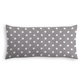 White & Gray Polka Dot Outdoor Lumbar Pillow