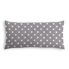 White & Gray Polka Dot Outdoor Lumbar Pillow