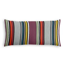 Purple Multicolor Striped Outdoor Lumbar Pillow