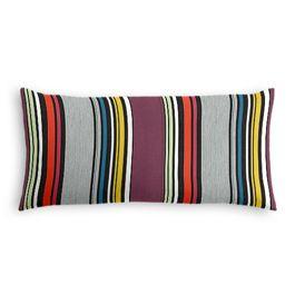 Purple Multicolor Striped Outdoor Lumbar Pillow
