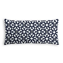 Navy Blue Floral Lattice Outdoor Lumbar Pillow
