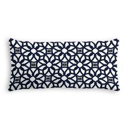 Navy Blue Floral Lattice Outdoor Lumbar Pillow