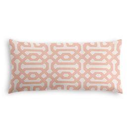 Pale Coral Trellis Outdoor Lumbar Pillow