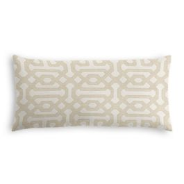 Light Tan Trellis Outdoor Lumbar Pillow