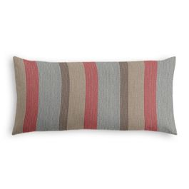 Red Blue Tan Stripe Outdoor Lumbar Pillow