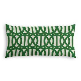 Emerald Green Trellis Outdoor Lumbar Pillow