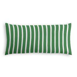 Emerald Green Thin Stripe Outdoor Lumbar Pillow
