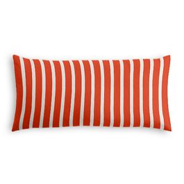 Flame Red Thin Stripe Outdoor Lumbar Pillow