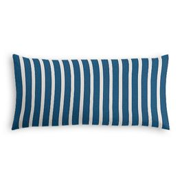 Bright Blue Thin Stripe Outdoor Lumbar Pillow