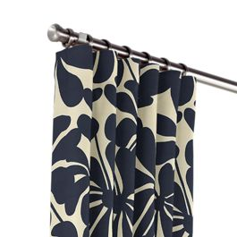 Navy Graphic Floral Outdoor Curtains Close Up