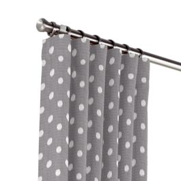 White & Gray Polka Dot Outdoor Curtains Close Up
