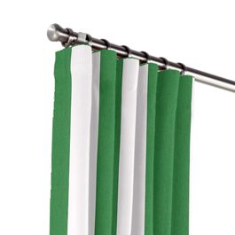 Green Awning Stripe Outdoor Curtains Close Up