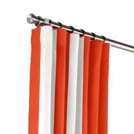Red Awning Stripe Outdoor Curtains Close Up
