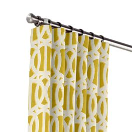 Bright Yellow Trellis Outdoor Curtains Close Up