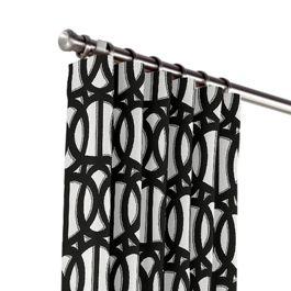 Black & White Trellis Outdoor Curtains Close Up