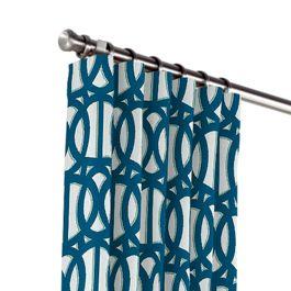 Bright Blue Trellis Outdoor Curtains Close Up