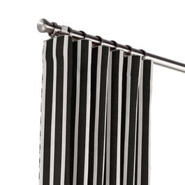 Black & White Thin Stripe  Outdoor Curtains Close Up