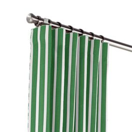 Emerald Green Thin Stripe Outdoor Curtains Close Up