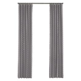 White & Gray Polka Dot Outdoor Curtains Close Up
