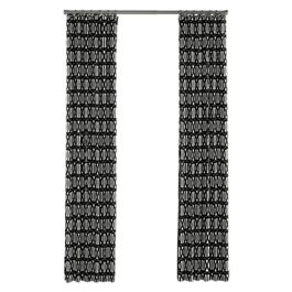 Black & White Trellis Outdoor Curtains Close Up