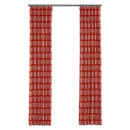 Coral Red Trellis Outdoor Curtains Close Up