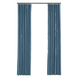 Bright Blue Thin Stripe Outdoor Curtains Close Up