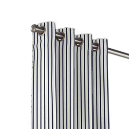 Navy & White Stripe Outdoor Grommet Curtains Close Up