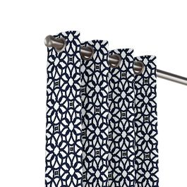Navy Blue Floral Lattice Outdoor Grommet Curtains Close Up
