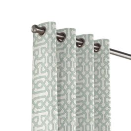 Pale Seafoam Trellis Outdoor Grommet Curtains Close Up