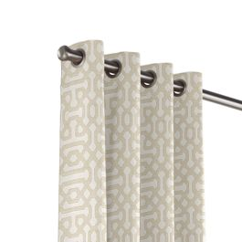 Light Tan Trellis Outdoor Grommet Curtains Close Up