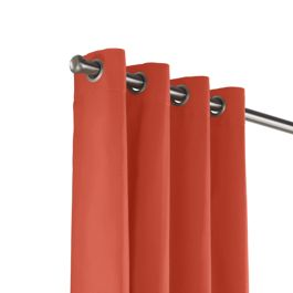 Tomato Red Sunbrella® Canvas Outdoor Grommet Curtains Close Up