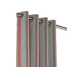 Red Blue Tan Stripe Outdoor Grommet Curtains Close Up