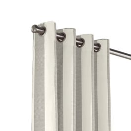 Gray Awning Stripe Outdoor Grommet Curtains Close Up